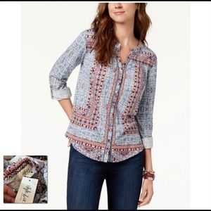 STYLE & CO NWT Nomadic Mixed Print Roll Tab Top